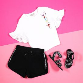 Givenchy Short Sleeve Double Logo Crop T Shirt White