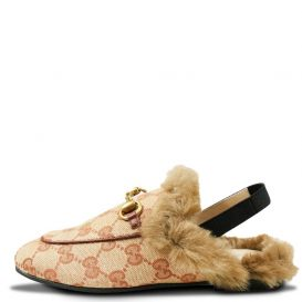 GG Fur Trim Slingback Shoes Beige