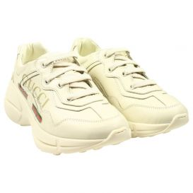 Ivory Leather Logo Trainers