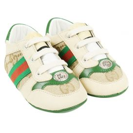 Gucci Logo Baby Trainers Beige