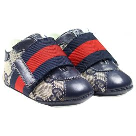 Gucci Baby Navy GG Velcro Trainers