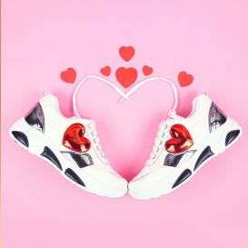 White & Red Love Heart Trainers