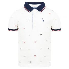 Short Sleeve Printed Polo Shirt Ivory