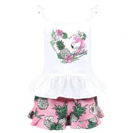 Tropical Patterned Shorts Set White & Pink