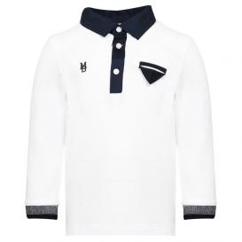 White Long Sleeve Logo Polo Shirt