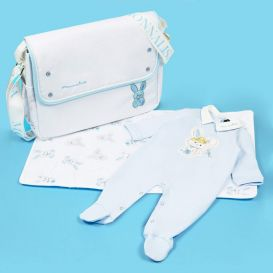 Bunny Changing Bag White & Blue