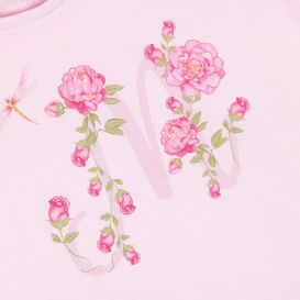 M Dragonfly & Roses T Shirt Pink