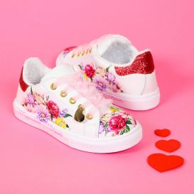 White Leather Floral Garden Trainers