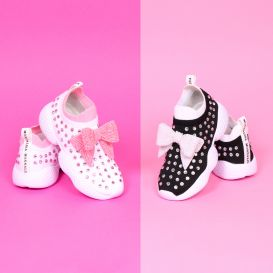 Pink & White Diamante Trainers