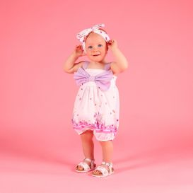 White & Pink Floral Shortie Romper