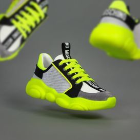 White & Neon Green Trainers