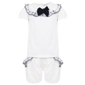 Embroidered T Shirt & Shorts Set White