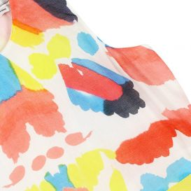Abstract Pattern Dress White