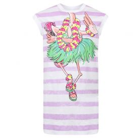 Flamingo Dress White & Purple