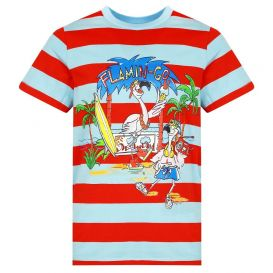 Short Sleeve Flamingo Stripe T Shirt Red & Blue